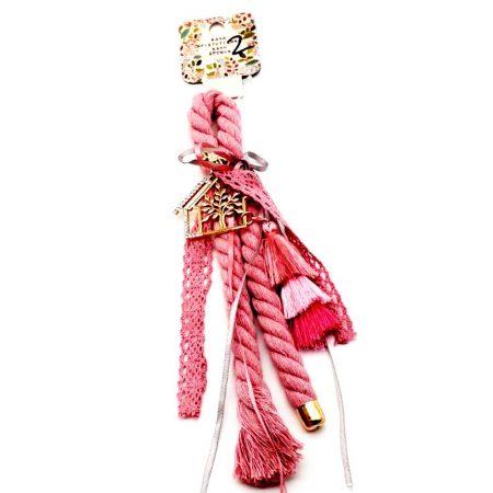 Γούρι Ροζ Σπιτάκι με Δέντρο Ζωής